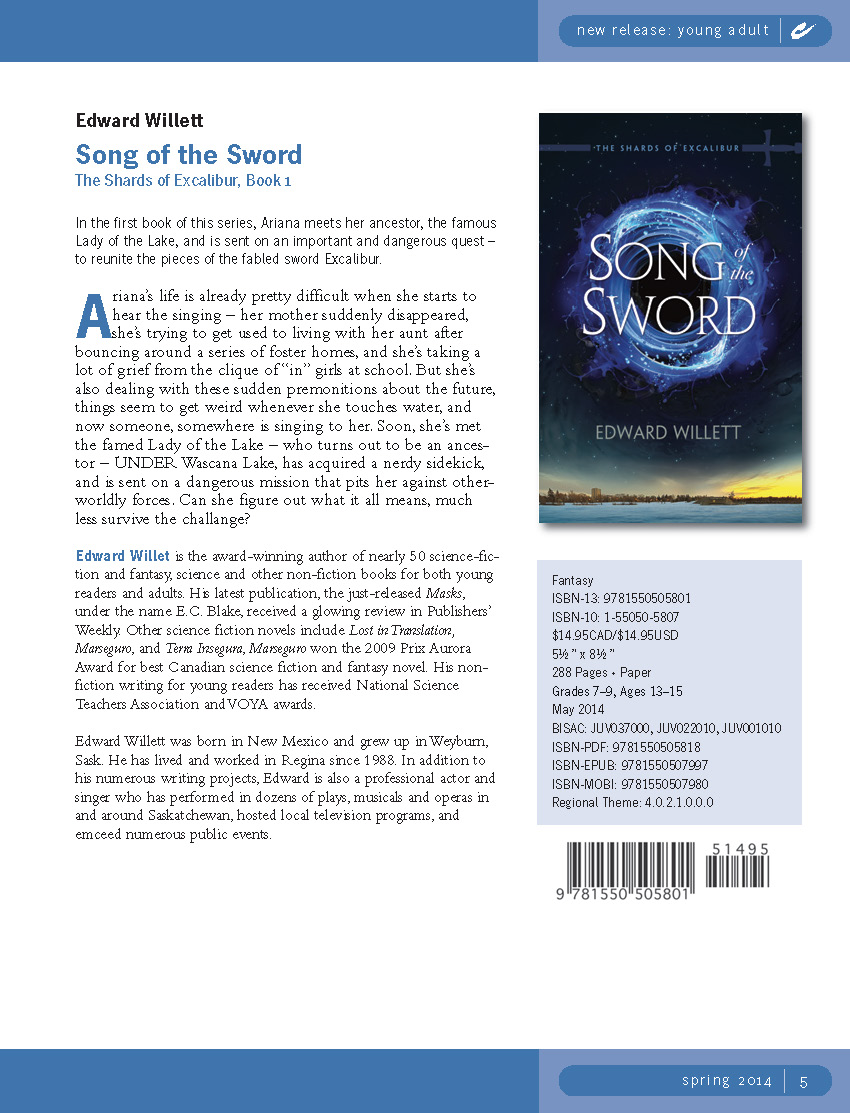 Coteau Books Spring 2014 catalogue features Book 1 of my OTHER YA